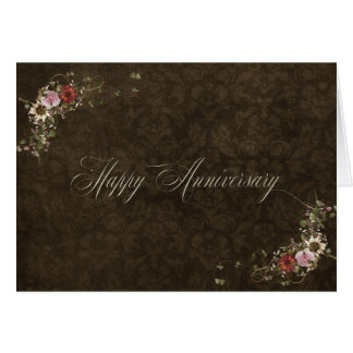 anniversary brown damask and bouquet card