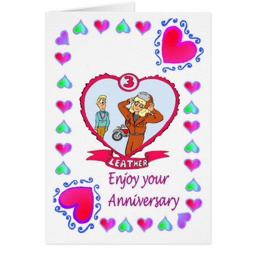Anniversary card rd leather zazzle