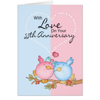 anniversary card - 55th anniversary love birds