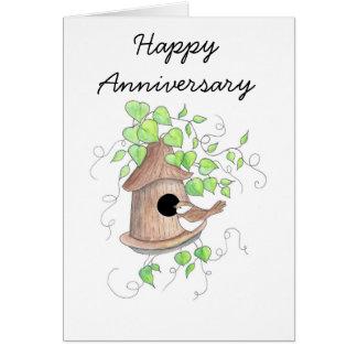 Anniversary Card, Chickadee on Birdhouse Card