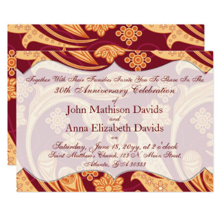 Anniversary Celebration Red Floral Henna Card