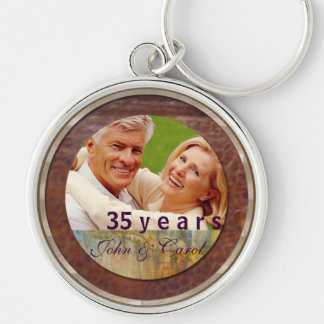 Anniversary customizable leather and silver Silver-Colored round key ring
