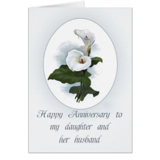 Anniversary for Daughter, Elegant Calla Lilies Card