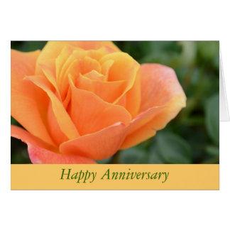 Anniversary Greeting Card with Orange Rose Design