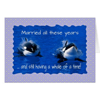 Anniversary greetings, having a whale of a time note card