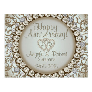 Anniversary Invitation   Gold Heart Monogram Postcard