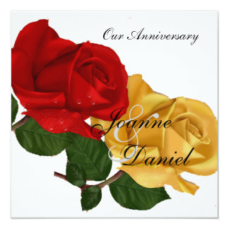 Anniversary Invite White Red Yellow Rose Floral