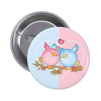 anniversary love birds pin badge - matches cards