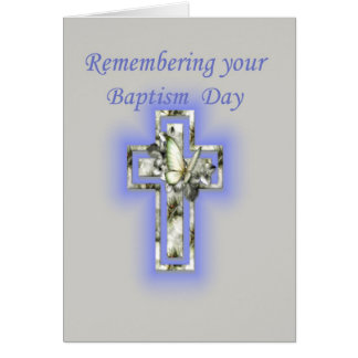Anniversary of Baptism Cross and Butterfly Greeting Card