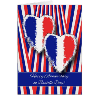 Anniversary on Bastille Day, Hearts and Stripes Card