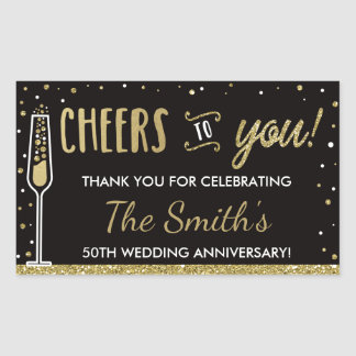 Anniversary Party Bottle Wrapper Faux Glitter/Foil Rectangular Sticker