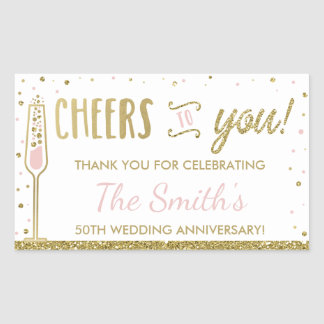 Anniversary Party Bottle Wrapper, Faux Glitter Rectangular Sticker