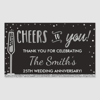 Anniversary Party Bottle Wrapper, Faux Silver Rectangular Sticker