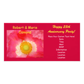 Anniversary Party Invitations Red Pink Poppy Photo Greeting Card