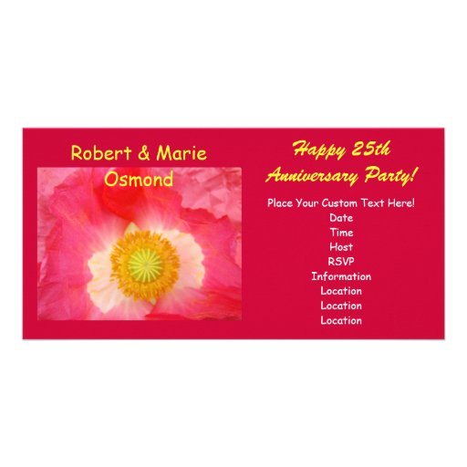 Anniversary Party Invitations Red Pink Poppy Picture Card