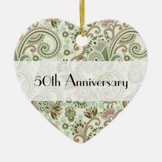 Anniversary - Persian Paisley, Swirls - Green Pink Ceramic Ornament