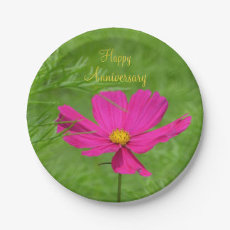 Anniversary Pink Cosmos Paper Plate 7 Inch Paper Plate