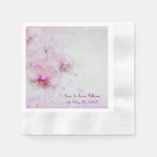 Anniversary pink orchids and bubbles paper napkin