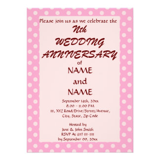Anniversary - Pink Polka Dots, Pink Background Announcements