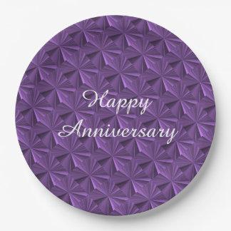 Anniversary Purple Diamond Paper Plates by Janz 9 Inch Paper Plate