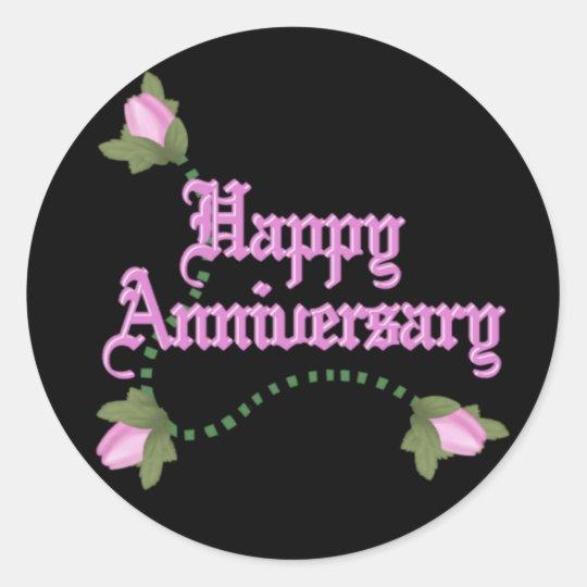 Anniversary Roses Round Sticker