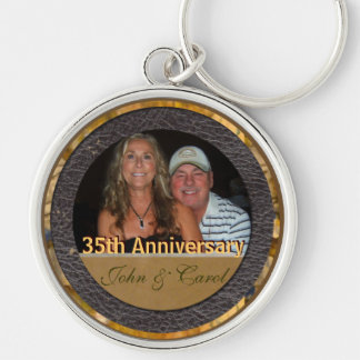 Anniversary Silver-Colored Round Key Ring