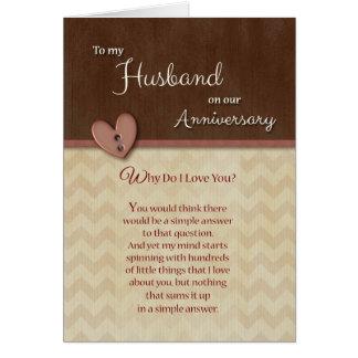 Anniversary to Husband - Why Do I Love You? Card