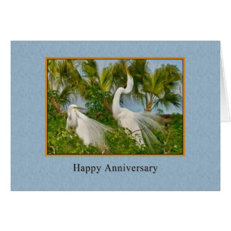 Anniversary, Two Great Egret Birds Card