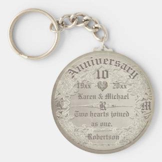 Anniversary   Vintage Copper Look Key Ring