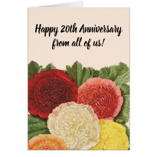 Anniversary Vintage Red White Pink Yellow Roses Card