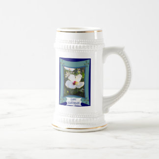 Anniversary,white floral beer steins