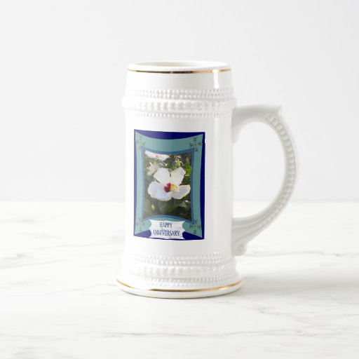 Anniversary,white floral mugs