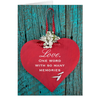 anniversary wooden red heart with daisy bouquet greeting card