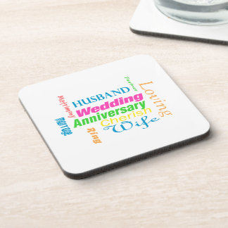 Anniversary Word Cloud 1 Coasters