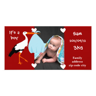 Announcement of birth Stork It' S.A. servant boy Personalized Photo Card