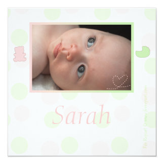 """Announcement of Rose birth and green with pea 5.25"""" Square Invitation Card"""