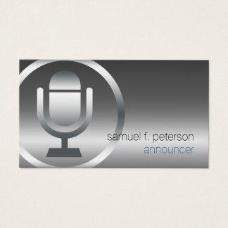 Announcer Chrome Microphone Icon Entertainment Business Card