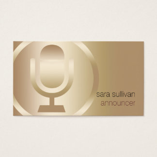 Announcer Gold Microphone Icon Entertainment Business Card