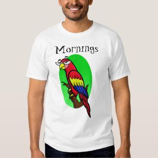 "Annoyed Cartoon Parrot ""Mornings"" T Shirt"