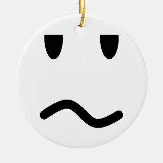 Annoyed Face Round Ceramic Decoration