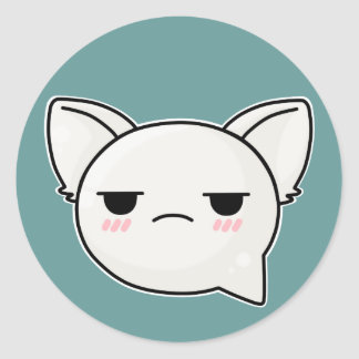 annoyed sad kitty face round sticker