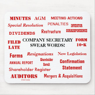Annoying Funny Company Secretary Joke Swear Words Mouse Pad