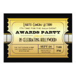 Annual Movie Awards Party Golden Ticket 13 Cm X 18 Cm Invitation Card