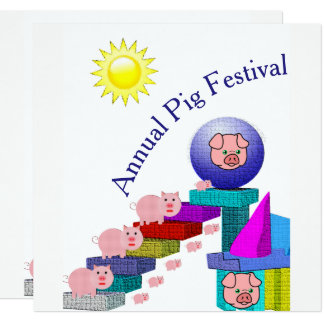 annual pig festival party invitation card