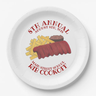 Annual Rib Cookoff BBQ Spare Ribs Barbecue Foodie Paper Plate