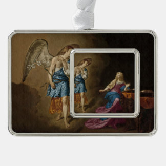 Annunciation Angel and Mary Silver Plated Framed Ornament