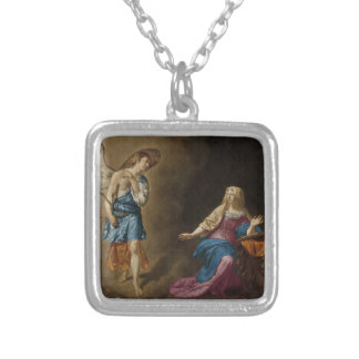 Annunciation Angel and Mary Silver Plated Necklace