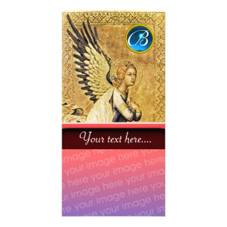 ANNUNCIATION ANGEL MONOGRAM, Blue Sapphire Customized Photo Card