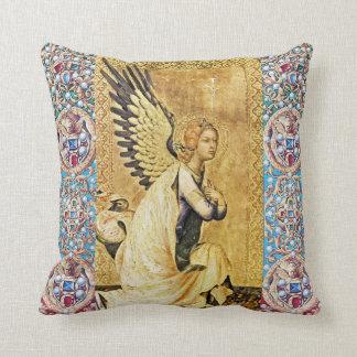 ANNUNCIATION ANGEL WITH RED BLUE GEMSTONES,PEARLS CUSHION