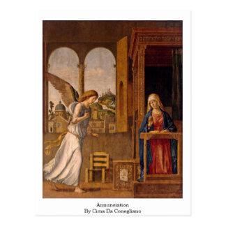Annunciation By Cima Da Conegliano Postcard